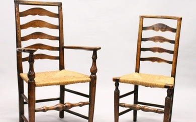 A MATCHED SET OF SIX 19TH CENTURY ASH AND ELM LADDER
