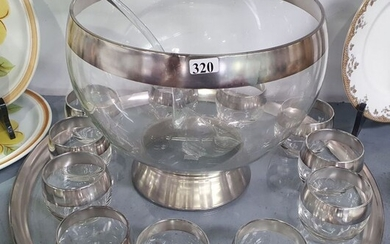 A MID CENTURY GLASS PUNCH SET ON TRAY