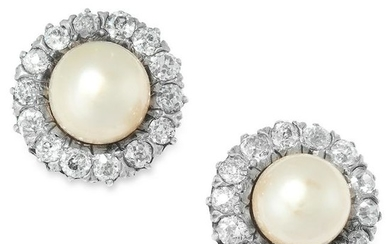 A PAIR OF ANTIQUE NATURAL PEARL AND DIAMOND CLUSTER