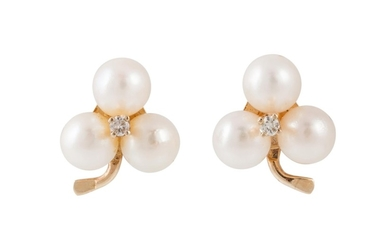 A PAIR OF DIAMOND AND PEARL EARRINGS, of trefoil design, mou...