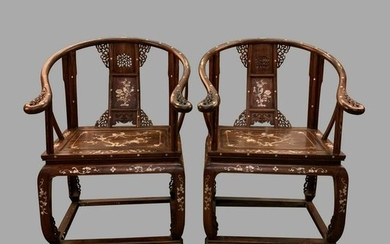 A Pair of Chinese Rosewood Carved Chair