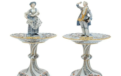 A Pair of Meissen Porcelain Figural Stands