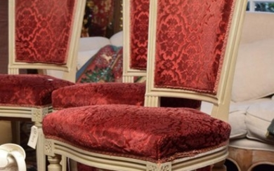 A SET OF EIGHT FRENCH DINING CHAIRS IN RED VELVET UPHOLSTERY