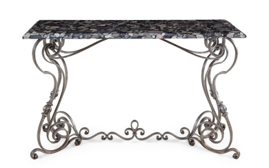 A Steel and Marble-Top Console Table