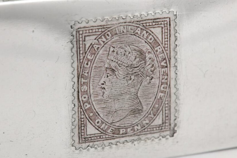 A Victorian sterling silver and enamel quadruple stamp