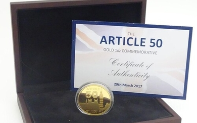A boxed Westminster Collection gold proof coin, 'Article 50 ...