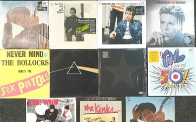 A collection of eleven LPs to include Pink Floyd, David Bowi...