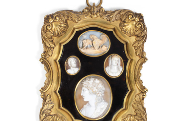 A collection of four mid 19th century Italian framed carved shell cameos mounted within a later gilt bronze frame with tortoiseshell mount