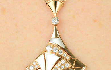 A diamond and mother-of-pearl 'Divas' Dream' pendant, on chain, by Bulgari.