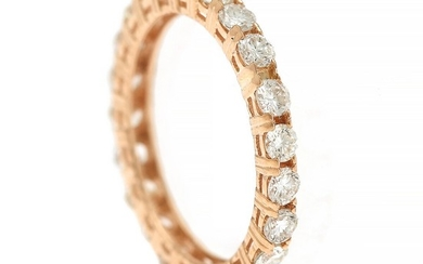 A diamond eternity ring set with numerous brilliant-cut diamonds totalling app. 1.75 ct., mounted in 14k gold. Size 55.