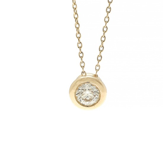 A diamond pendant set with a brilliant-cut diamond weighing app. 0.30 ct., mounted in 14k gold. Accompanied by necklace of 14k gold. L. app. 42 cm. (2)