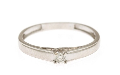 A diamond solitaire ring set with a brilliant-cut diamond weighing app. 0.06 ct., mounted in 14k white gold. Size 52.