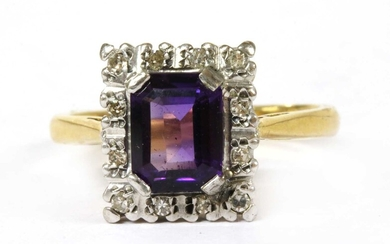 A gold amethyst and diamond cluster ring