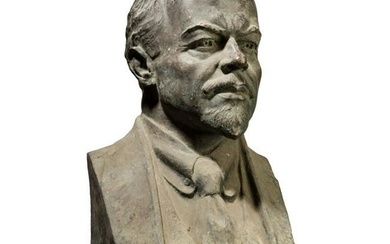 A greater than life size bust of Lenin