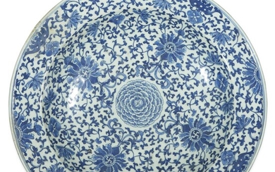 A large Chinese blue and white dish Qing dynasty,...