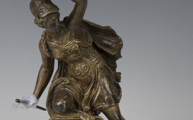 A late 19th century Continental gilt cast bronze figure of a Classical female warrior, holding a shi