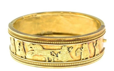 A late Victorian 15ct gold Assyrian Revival hinged