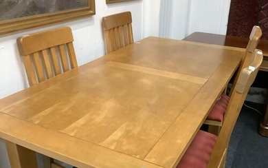A light oak style modern dining table 6ft long x 3ft wide an...
