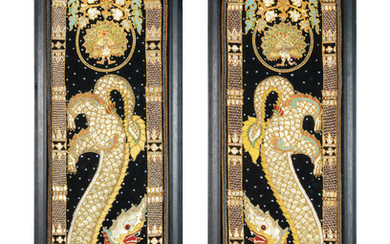 A pair of 20th century decorative embroidered decorative panels