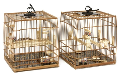 A pair of Chinese bamboo birdcages