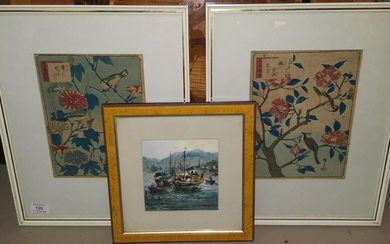 A pair of Japanese wood cut pictures depicting birds on tree...