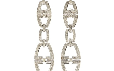 A pair of ear pendants each set with numerous brilliant-cut diamonds, totalling app. 1.90 ct., mounted in 14k rhodium plated gold. L. app. 5.5 cm. (2)