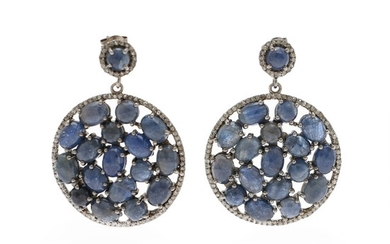A pair of sapphire and diamond ear pendants each set with numerous rose-cut sapphires and single-cut diamonds, mounted in oxidised silver. (2)