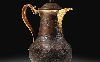 A parcel-gilt and patinated brass coffee-pot, probably Demidoff manufacture, Russia, circa 1770