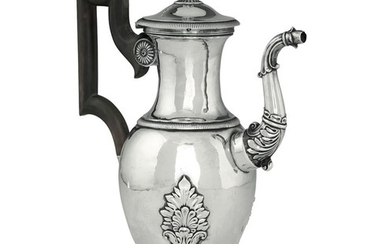 A silver coffee pot, France, 1819-38