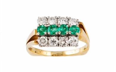 AN EMERALD AND DIAMOND DRESS RING, with emeralds of approx 0...