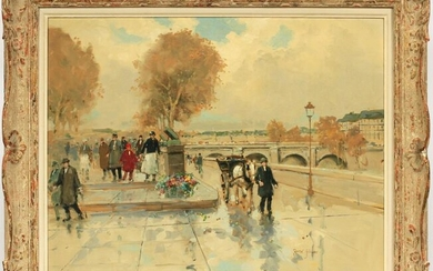 ANDRE GISSON OIL ON CANVAS, FALL ON THE SEINE