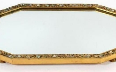 ANTIQUE FRENCH CHAMPLEVEE MIRROR PLATEAU