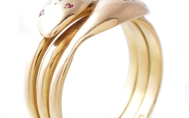 An 18 carat gold and diamond snake ring
