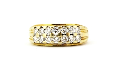 An 18ct yellow gold (stamped 750) ring set with two rows of brilliant cut diamonds, (L).