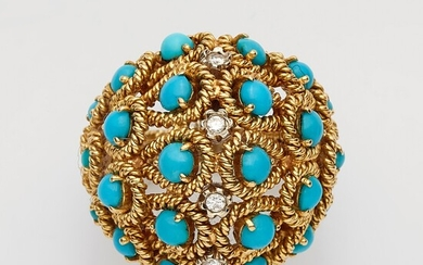 An 18k gold and turquoise basket ring