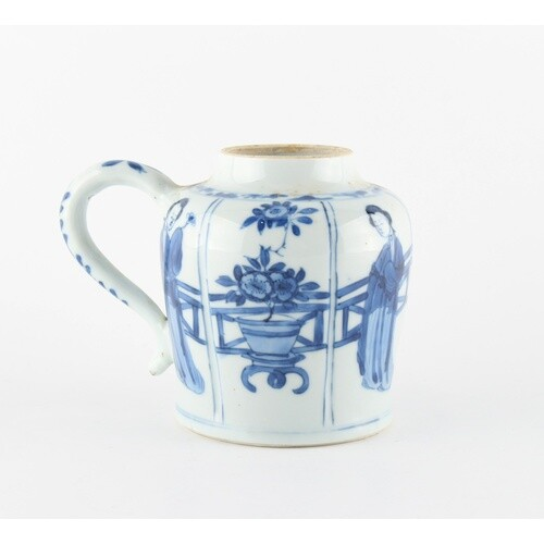 An unusual Chinese blue & white jar with single handle, Kang...