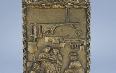 Antique 19c B&H Bronzed Cast Iron Easel 1813 Plaque