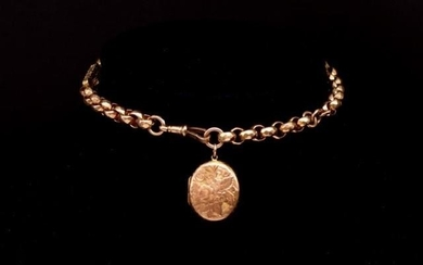 Antique 9ct rose gold half Albert chain and locket with face...