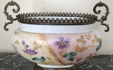 Antique Hand Painted Opalescent Glass Compote