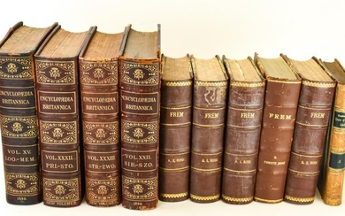 Antique Leather Bound & Marbleized Reference Books
