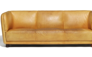 "Arne Jacobsen: Very rare freestanding three seater ""Novo"" sofa with round mahogany legs. Upholstered with patinated natural leather. L. 224 cm."