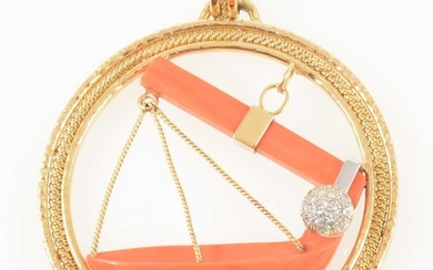 Asprey & Co - an 18 carat yellow gold, coral and diamond set pendant