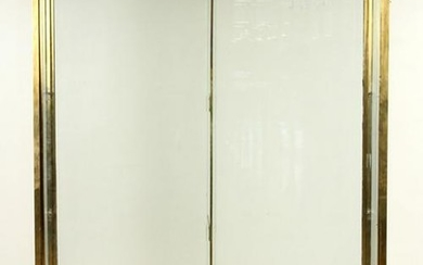 BRASS AND GLASS DISPLAY CASE SLIDING DOORS C.1960
