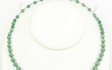 Burmese jade bead & crystal necklace
