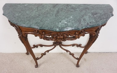CARVED MAHOGANY DEMILUNE MARBLE TOP CONSOLE