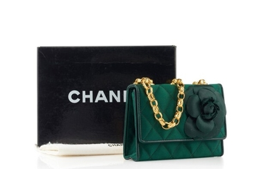 CHANEL | GREEN QUILTED FLOWER FLAP MINI