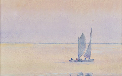 CHILDE HASSAM Sailboat off the Coast Isle of Shoals