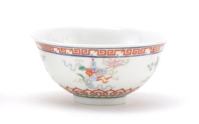 CHINESE POLYCHROME PORCELAIN BOWL With four auspicious symbols about the body. Six-character Guangxu mark on base.