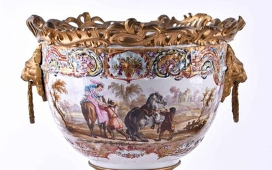 Cache Pot Samson Paris 1860/80   Cache pot Samson Paris 1860/80,colored and gold plated, decorated with fire-gilt bronze applications, two handles in form of lion heads on the sides, on the front and back with paintings after Wouvermanns, underneath...