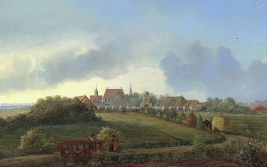 Carl Anton Saabye: Scenery from Nørre Vosborg manor house. Signed and dated C. Saabye 48. Oil on canvas. 63×95 cm.